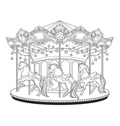 Carousel merry go round coloring book vector