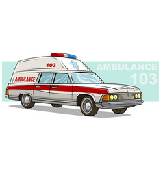 cartoon ambulance emergency retro long car vector image