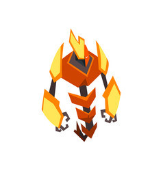 cartoon bright-colored transformer strong orange vector image