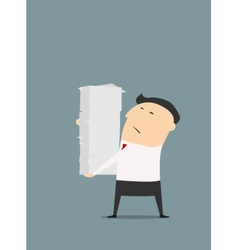 Cartooned businessman with stack of papers vector