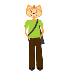 cat student in green t-shirt fashionable pants vector image