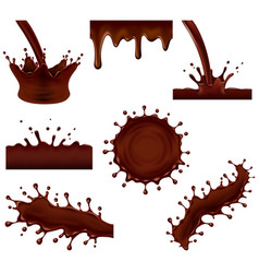 chocolate splashes 3d photo realistic set vector image
