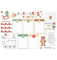 christmas kids planner vector image