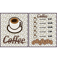 coffee shop design elements vintage vector image