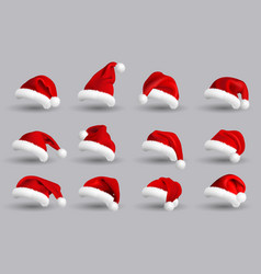 collection red santa claus hats isolated on vector image