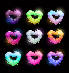 Colorful fluffy heart shape clouds vector