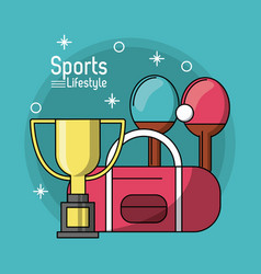 Colorful poster of sports lifestyle with trophy of vector