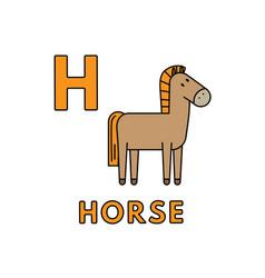 Cute cartoon animals alphabet horse vector