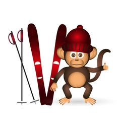 cute chimpanzee with red winter cap and ski sport vector image