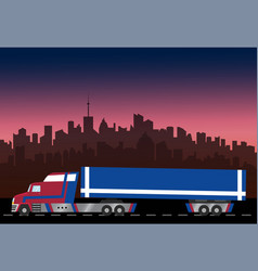 Delivery truck on city background vector