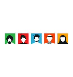 Diverse people set colorful face icon vector