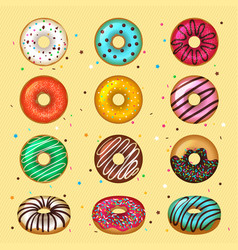 donuts glazed fast food desserts for breakfast vector image