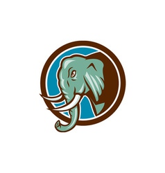 Elephant Head Side Circle Cartoon vector image