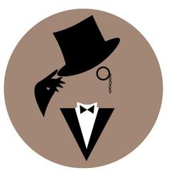 faceless vintage gentleman in tuxedo and hat vector image