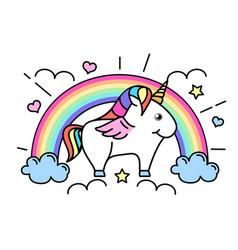 fantasy animal horse unicorn vector image