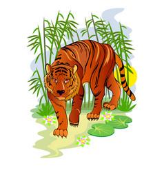 Fantasy cute tiger in fairyland jungle cover vector