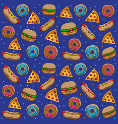 fast food patterns vector image