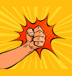 Fist punching crushing blow or strong punch drawn vector