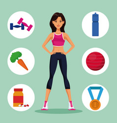 Fitness woman with sport symbols vector