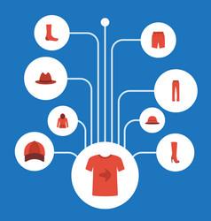 flat icons swimming trunk sweatshirt hosiery and vector image