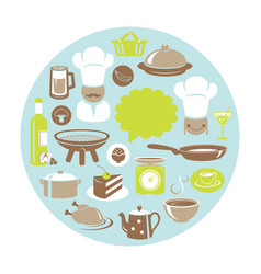 food and drink concept round card with chef vector image