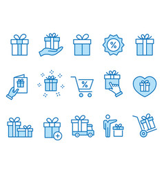Gift box icons set black vector
