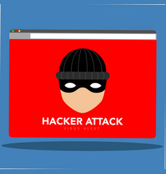 Hacker icon on a computer screen cyber attack vector