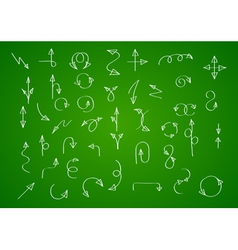 Hand drawn arrow collection on green background vector image