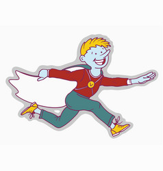 happy boy with blue skin is running flat vector image