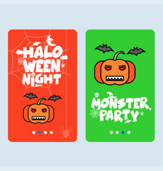 happy halloween invitation design with pumpkin vector image