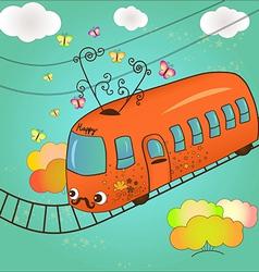 Happy tram vector