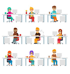 hardworking creative people work in the office vector image