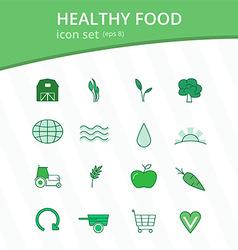 Healthy food monotone icon set vector