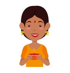 Hindu woman with candle vector