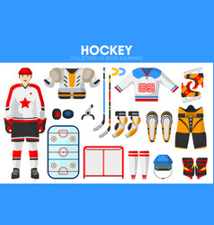 Hockey ice sport equipment game player garment vector