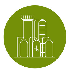 Hydrogen plant icon in thin line style vector