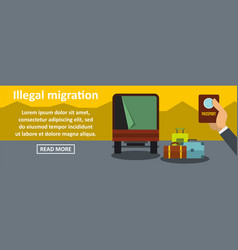 Illegal migration banner horizontal concept vector