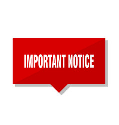 Important notice red tag vector