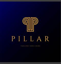 initial letter p for pillar line outline monogram vector image