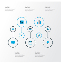 interface icons colored set with archive chart vector image