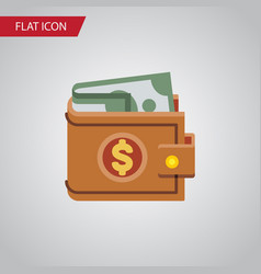 isolated wallet flat icon money element vector image