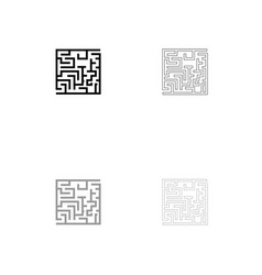 Labyrinth maze conundrum black and grey set icon vector