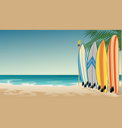landscape beach with some surfboards vector image
