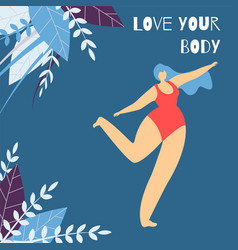 Love body positive lettering flat design banner vector