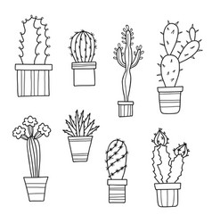 Lovely cartoon cacti and plants in pots vector