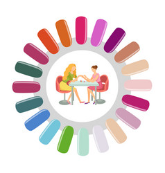 Manicure round nails pallet manicurist and client vector