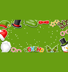 Merry christmas card with photo booth stickers vector