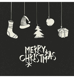 Merry Christmas Greeting On black Postcard retro vector