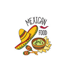 mexican food symbol set fastfood sign guacamole vector image