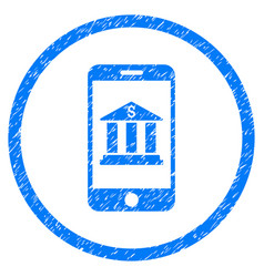 Mobile bank rounded grainy icon vector